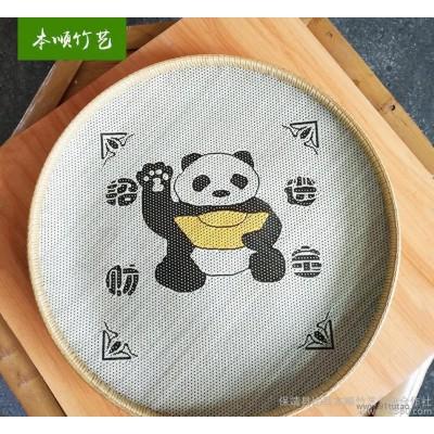高品质竹编纯手工竹编家用簸箕工艺品招财进宝熊猫簸箕直销