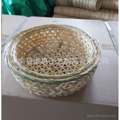 竹编面包篮筐|圆形竹篮|加厚款|纯手工编织|竹工艺品生产