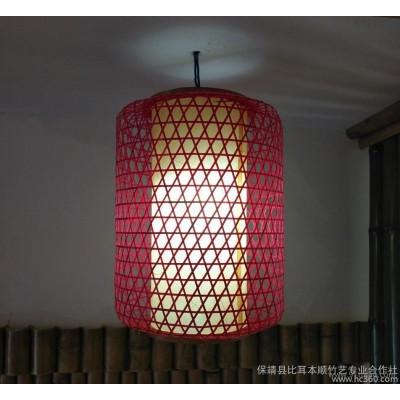 弧形柱状竹编灯罩天然纯手工精编灯笼灯罩高品质竹编灯罩工艺品