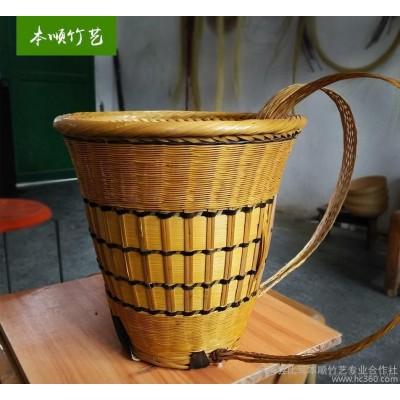 生活竹背篓定做竹编置物篮纯手工收纳背篓筐竹制工艺品