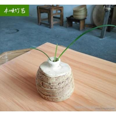 非物质文化遗产竹根花器纯手工竹编装饰花器摆设竹艺工艺品