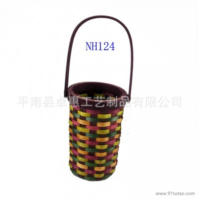 茶叶篮|鸡蛋篮|彩色木片篮|仿古篮子|插花篮 广西竹编工艺品定做