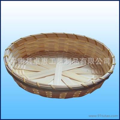 竹筐托盘|圆形竹编水果盘|广西竹工艺品生产基地|竹篮竹篓定做