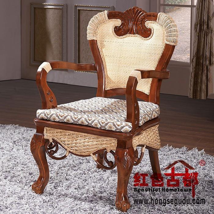 水曲柳藤餐椅水曲柳藤编餐椅酒店餐桌椅 无扶手藤编餐椅