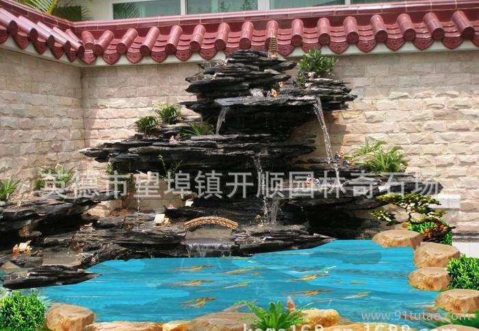 假山喷泉、假山流水、家庭园艺、假山、园艺