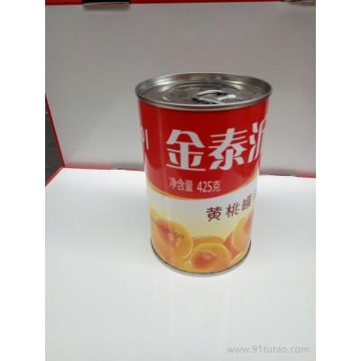 厂家批发425g金泰沂牌黄桃易拉罐铁盒罐头  刚下果树枝头,即成美味罐头,鲜嫩可口,营养天然   罐头厂家   罐头批发