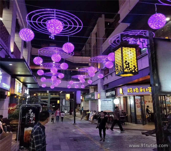 灯熠光电 滴胶桃子造型灯 户外道路亮化桃子圆球挂件灯 蝴蝶造型灯厂家