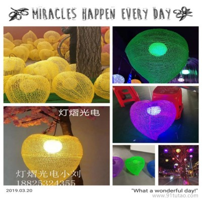 灯熠光电滴胶桃子造型灯 户外道路亮化桃子水滴挂件灯厂家