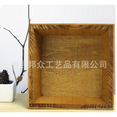 桌面摆件zakka多肉木头礼品盒 大量复古多肉礼盒花盆木质