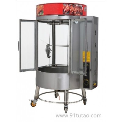 广州花都商用土耳其烤肉机/中东燃气烧烤炉自动旋转烤炉肉夹馍可视带门