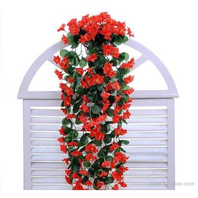 厂家仿真牵牛花壁挂花 藤壁挂吊兰花吊篮花客厅阳台家居装饰花特价直销